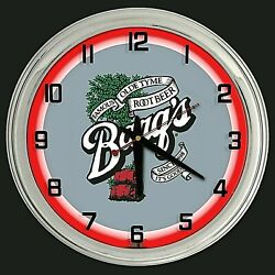 16 Barqand039s Root Beer Sign Red Neon Clock Man Cave Bar Garage Gift Barqs