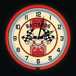 19 Mean Old Bastards Hot Rods Motorcycles Sign Red Double Neon Clock