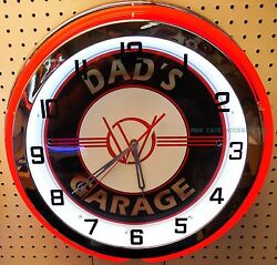 18 Dads Willys Garage Sign Double Neon Clock