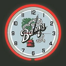19 Barqand039s Root Beer Sign Double Red Neon Clock Man Cave Bar Garage Gift Barqs