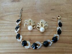 Vintage Richelieu Faux Pearl And Crystal Pierced Earrings And Unbranded Bracelet