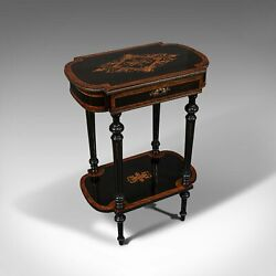 Antique Napoleon Iii Side Table French Etagere Burr Walnut Sewing C.1870