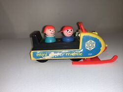 Vintage Fisher Price Little People Mini Snowmobile 705 Good Condition