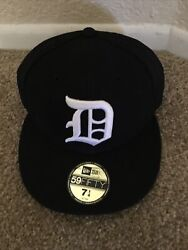 New Era Detroit Size 7 1/4 5950 Fitted On Field Mlb Usa Cap Authentic Tbtc Se