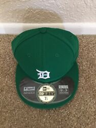 New Era Detroit Size 7 1/8 5950 Fitted On Field Mlb Cap Hat St. Patrick's Day