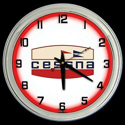 16 Cessna Aircraft Old Logo Sign Red Neon Clock