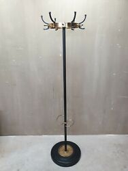 1950and039s French Design Coat Rack Jacques Adnet Black Metal And Brass Midcentury