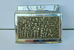 Fisher Butane Table Gas Lighter Vintage Bronze Military Scene Japan From 1950and039s