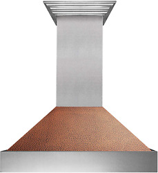 36 Snow Finish Range Hood With Hand-hammered Copper Shell 8654hh-36