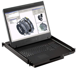 1u 19 Rackmount Monitor With 8 Port Kvm Switch 1440 X 900 8 Vga/usb Cables In