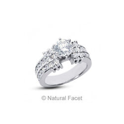 1.65ct G/vs2 Round Cut Earth Mined Certified Diamonds White Gold Engagement Ring