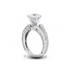 2.83ct H/si2 Round Natural Diamonds White Gold Vintage Style Accent Ring
