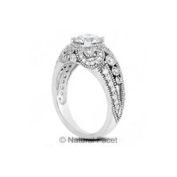 1.96ct F/si2 Round Natural Diamonds White Gold Vintage Style Engagement Ring