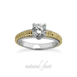 0.89ct J/vs2 Round Natural Diamonds Two-tone Gold Vintage Style Accent Ring