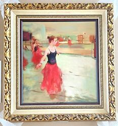 Signed 2012 Hua Chen Long Red Dress Giclee Hand Embellished Canvas Ballerina