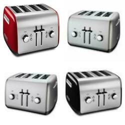 Red And Silver Brushed Stainless Steel 4-slice Toaster By Kitchenaid