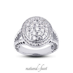 1.02ct F Vs1 Round Natural Certified Diamonds White Gold Halo Right Hand Ring