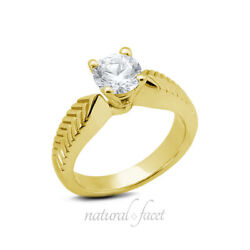 0.52ct D Si1 Round Natural Diamond Yellow Gold Vintage Solitaire Engagement Ring