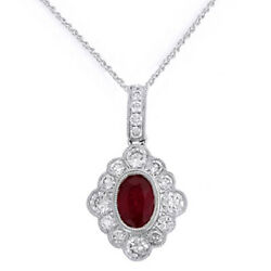 14k White Gold Created Ruby And Simulated Vintage Style Pendant With Chain 18