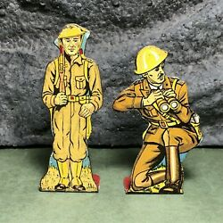 2 Lot | Vintage Marx | Flat Tin Soldiers | Infantry Captain And Infantry Private
