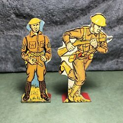 2 Lot | Vintage Marx | Flat Tin Soldiers | Infantry Sergeant And Private Charging