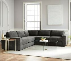 West Elm Charcoal Urban Heathered Tweed 3-piece Sectional