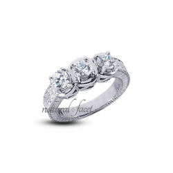 0.85ct H/si1 Round Natural Diamonds White Gold Vintage Style 3-stone Ring