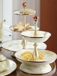 Mackenzie-childs Parchment Check Enamel Two Tier Compote