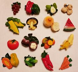 Huge Lot Refrigerator Magnets 120 Pieces Fruit And Vegetables Individually Wrapped