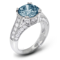 1.85ct Blue Si3 Round Natural Diamonds 18k Vintage Style Engagement Ring