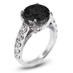 4.75ctw Black Round Cut Earth Mined Certified Diamonds 18k Gold Accent Ring