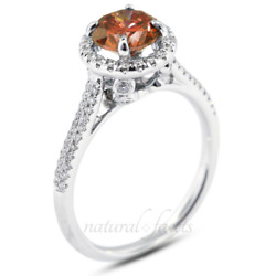 1.17ct Red Si1 Round Earth Mined Certified Diamonds 18k Halo Side Stone Ring