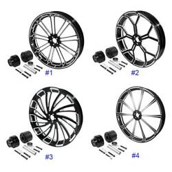 30and039and039 Cnc Front Wheel Rim Hub Single Disc Fit For Harley Touring Road Glide 08-21