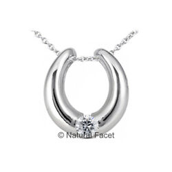 0.72ct G Vs2 Round Earth Mined Certified Diamond White Gold Solitaire Pendant
