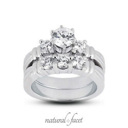 1.96ct F/vs2 Round Natural Diamonds Plat Vintage Style Ring With Wedding Band