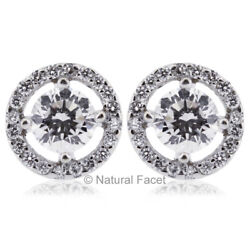1.27ct F Si1 Round Earth Mined Certified Diamonds White Gold Halo Fine Earrings