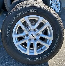 New Style Chevy Takeoff 18 Silverado White Letter Tires Wheels Lugs Included