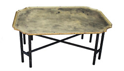 Vintage Kittinger Hollywood Regency Chinoiserie Bamboo Gold Leaf Tray Table