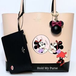 Kate Spade Minnie Mouse Reversible Disney Tote Bag W/ Wristlet And Keychain Charm