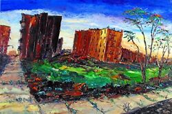 South Bronx With Vacant Lot Arthur Robins Original Oil Painting New York City