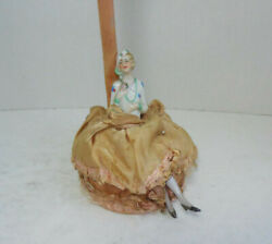 Unusual Antique Art Deco 1920-30 Half Doll Pin Cushion Doll Wooden Hat Stand