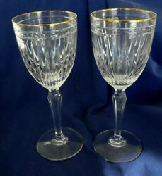 Pair Of Waterford Marquis Hanover Gold Crystal Water Glasses - 8-3/8