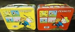 Vintage Pair Charlie Brown Peanuts Aladdin Metal Lunchbox-clean-x2-red And Yellow