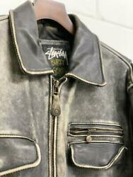 Vintage 1991s Old Stussy Leather Jacket Xl Zip Mark Button World Tribe