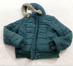 Americsn Eagle Outfitters Womens Green Hooded Puffer Jacket Size Xl