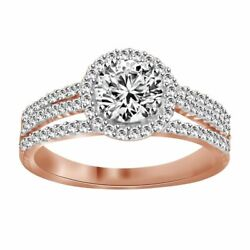 1.50 Cttw Round Cut Diamond Halo Wedding Ring Sold 14k Rose Gold Over Silver