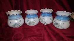 Beautiful Vintage Set Of 4 Glass Hurricane Light Globes With Blue Flower Print