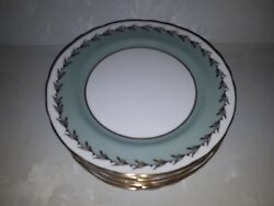 1 Lot 11 Salad Plates Aynsley England Gold Trim Turquoise 8351 Discontinued 8