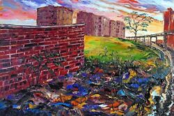 South Bronx With Lot And Wall Arthur Robins Original Oil Painting New York City