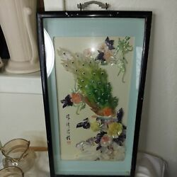 Vtg Chinese Mother Of Pearl Abalone Shell Art Shadow Box Frame 17 X 10 Signed